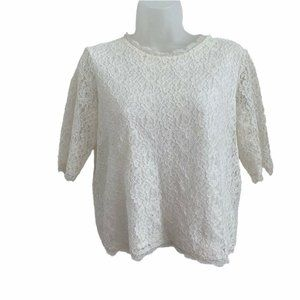 JIGSAW Small Blouse Lace Fitted 1/2 Sleeve White